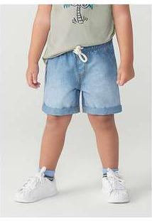Conjunto Menino Em Jeans Manga Curta Com Bermuda Toddler Off-White