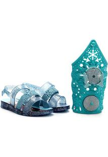 Sandália Infantil Grendene Kids Frozen Snow Power Com Brinquedo Bracelete - Feminino-Azul