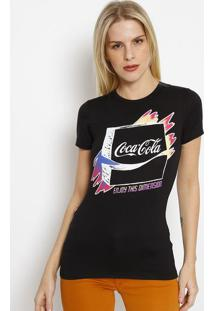 "Camiseta ""Coca-Colaâ® Enjoy This Dimension"" - Preta & Bracoca-Cola"