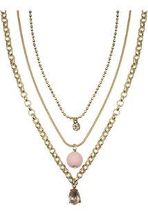 Colar Armazem Rr Bijoux Triplo Pedra Rosa Dourado