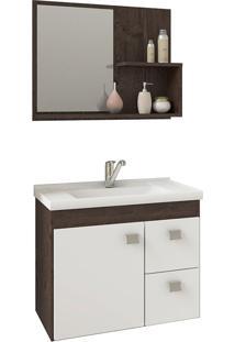 Conjunto Para Banheiro Com 1 Porta E 2 Gavetas Hortência-Mgm - Café / Branco