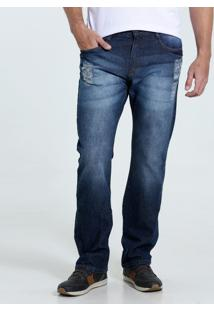 Calça Masculina Reta Jeans Puídos Marisa