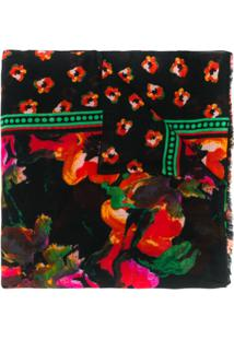 Diane Von Furstenberg Echarpe Com Estampa Floral - Preto