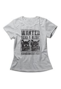 Camiseta Feminina Schrödinger'S Cat Cinza