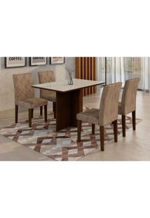 Conjunto De Mesa De Jantar Com 4 Cadeiras Ane I Suede Animalle Castor E Chocolate