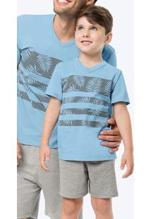 Pijama Azul Claro Listras E Folhas Infantil Tal Fi