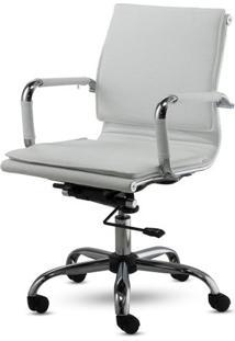 Cadeira Diretor Valencia Baixa Branco Base Cromada 16634 - Sun House