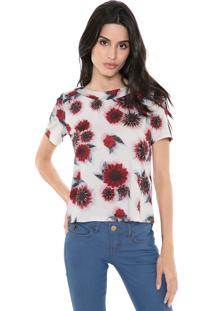 Camiseta My Favorite Thing(S) Degagê Floral Off-White/Vermelho