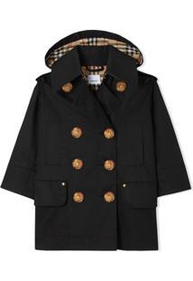 Burberry Kids Trench Coat Impermeável De Algodão Com Capuz Removível - Preto