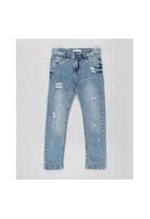 Calça Jeans Infantil Com Puídos Azul Médio