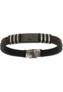 Bracelete De Aço Inox Tudo Joias Black Com Silicone 11Mm De Largura - Unissex