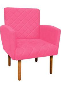 Poltrona Decorativa Veronês Para Sala E Recepção Suede Rosa Barbie - D'Rossi