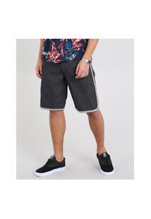 Bermuda Jeans Masculina Com Faixa Contrastante E Cordão Preta