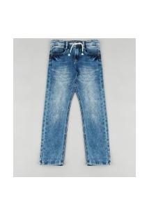Calça Jeans Infantil Reta Em Moletom Com Bolsos Azul Médio