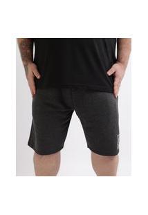 Bermuda De Moletom Masculina Plus Size Cinza Mescla Escuro