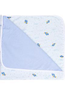 Manta Com Forro- Branca & Azul Claro- 78X90Cmpapi