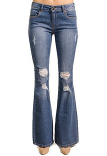 Calça Jeans Flare Destroyed Alphorria