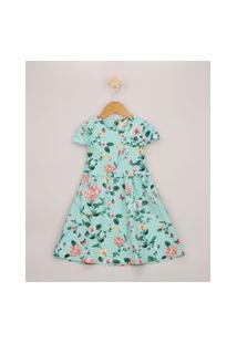 Vestido Infantil Estampado Floral Com Laço Manga Curta Azul Claro
