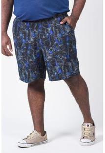 Bermuda Tactel Kauê Plus Size Com Lycra Estampada Masculina - Masculino