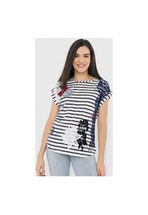 Camiseta Desigual Refresh Branca/Azul-Marinho