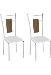 Conjunto Com 2 Cadeiras Caspian Branco E Cromado