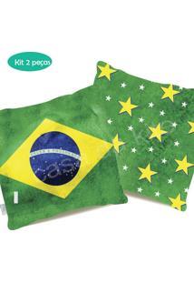 Kit Capas Almofadas Estampadas Dupla Face Brasil