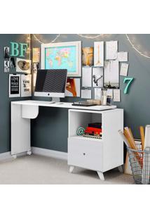 Mesa Para Computador Com Tampo Giratório E 1 Gaveta Carinho – Albatroz - Branco Texturizado
