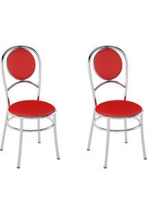 Kit 2 Cadeiras Pc03 Assento Vermelho - Pozza
