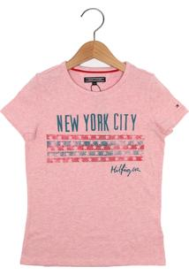Camiseta Tommy Hilfiger Kids Manga Curta Menina Rosa