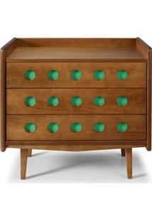 Comoda Vintage Cor Amendoa Com Verde Anis - 28929 - Sun House