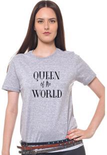 Camiseta Feminina Joss Estampada Queen Of The World Cinza Mescla