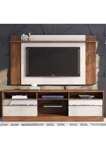 Rack Com Painel Para Tv Até 55 Polegadas 2 Portas Kelvin Seda/Off White - Viero Móveis