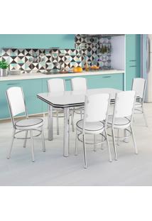 Conjunto De Mesa De Cozinha Com 6 Lugares Málaga Corino Branco
