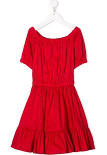 Piccola Ludo Vestido Mangas Curtas Com Pregas - Vermelho