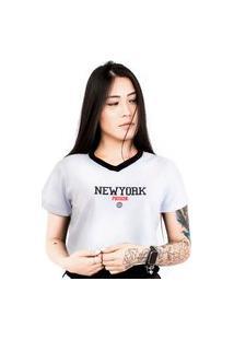 Camiseta Cropped Prison Feminina Prison New York White