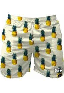 Bermuda Maromba Fight Wear Pineapples Com Bolsos Masculina - Masculino-Branco