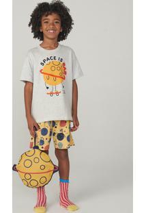 Pijama Manga Curta Infantil Menino Em Malha Com Porta Pijama
