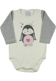 Body Bebê Suedine E Listrado Garden Pinguim Ano Zero - Feminino