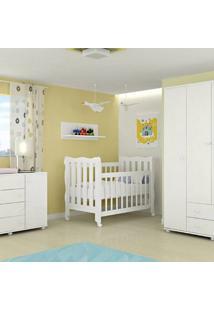 Dormitório Lorena Com Berço 3 Em 1 Lila 100% Mdf - Phoenix Baby / Carolina Baby