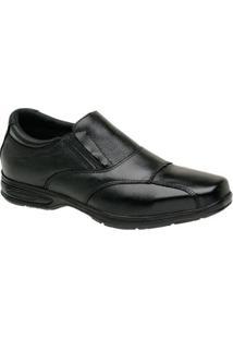 Sapato Social Couro Masculino Conforto Bico Quadrado Liso - Masculino-Preto