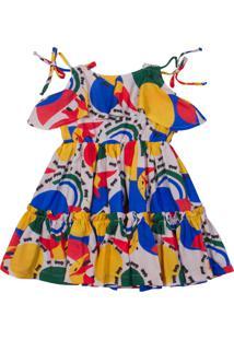 Vestido De Tecido Estampado Ser Garota Colorido