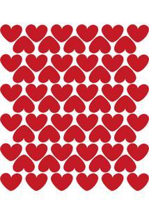 Adesivo De Parede Infantil Corações Vermelhos 55Un