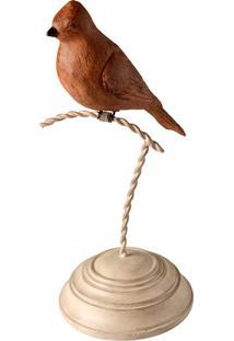 Escultura Decorativa De Resina Passarinho No Pedestal Iv