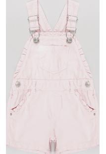 Jardineira Infantil Com Bolso Rosa