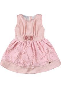 Vestido Com Detalhe Em Renda Ser Garota Rosa - Tricae