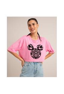 Camiseta Cropped Oversized De Algodão Estampada Mickey Manga Curta Decote Redondo Rosa