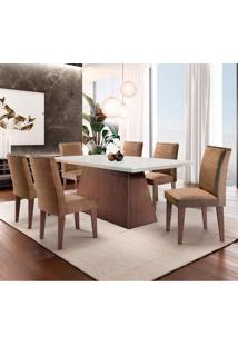 Conjunto De Mesa De Jantar Luna Com 6 Cadeiras Estofadas Lunara Ii Animalle Off White E Chocolate