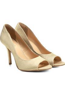 Peep Toe Shoestock Liso Cetim - Feminino