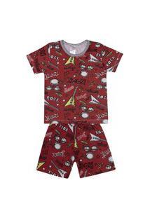 Conjunto Pijama Menino Em Meia Malha Vermelho Rotativo - Liga Nessa