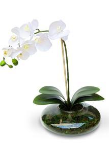 Arranjo De Flor Artificial Felicitadecor Orquidea No Cachepot Vidro Ikebana Branca